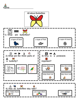 Guided notes for Butterfly BrainPop Jr. (Non-writers)