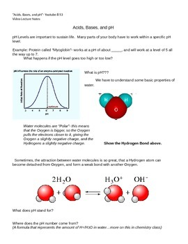 Guided notes for Mr. Anderson on pH, Acids, and Bases
