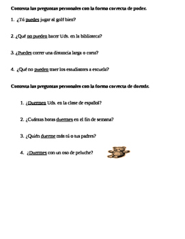 Guided notes for poder and dormir. Apuntes para poder y dormir. Verbos de bota