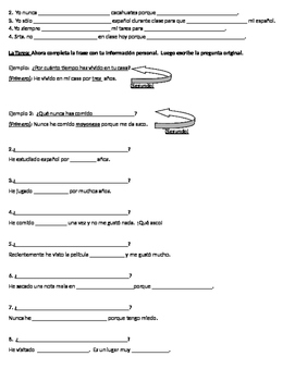 Guided notes for present perfect Apuntes para el presente perfecto
