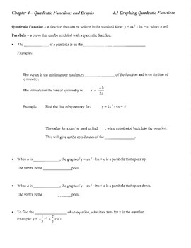 Guided notes introduction quadratic functions review parabola vertex a intercept