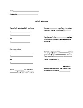 Guided notes/worksheet over the periodic table