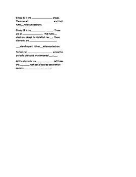 Guided notes/worksheet over periodic table and trends
