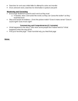 Guided reading example plans early literacy