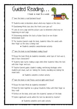 Guided reading folder information
