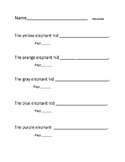 Guided reading form for Hide and Seek (Sunsprouts book)