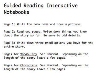 Guided reading interactive notebook