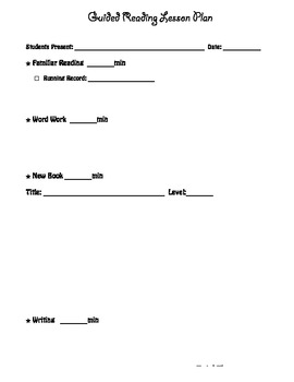 Guided reading lesson plan or notes form
