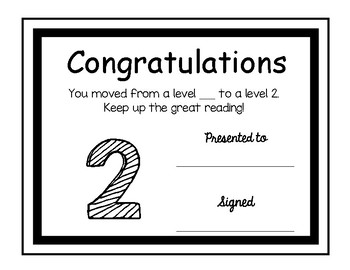 Guided reading level awards 1-6 for DRA