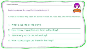 Guided reading levelled worksheets for Ranterino stories