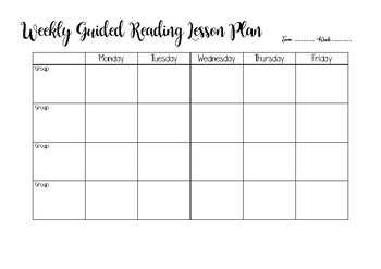 Guided reading weekly lesson plan