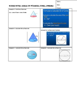 GuidedNotes for Volume of Pyramids,Cones,Spheres