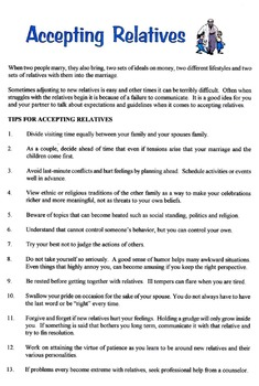 Guidelines For Accepting New Relatives Lesson
