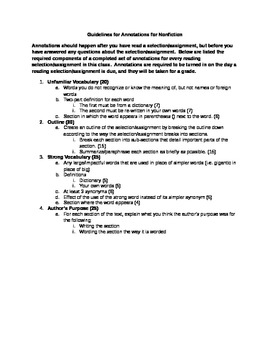 Guidelines for Annotations Activity for Nonfiction