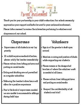 Guidelines for Chaperones and Volunteers in Schools