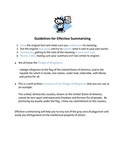 Guidelines for Effective Summarizing