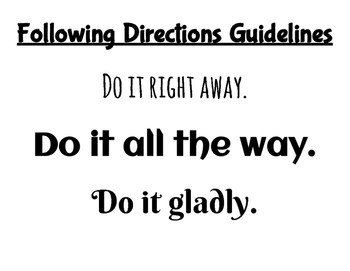 Guidelines for Following Directions