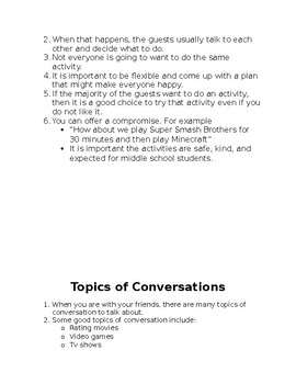 Guidelines for Middle School Hang Outs