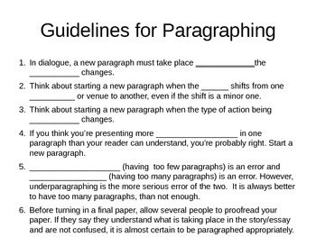 Guidelines for Paragraphing PowerPoint presentation (student version)