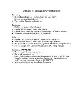 Guidelines for Writing a Literary Analysis Essay