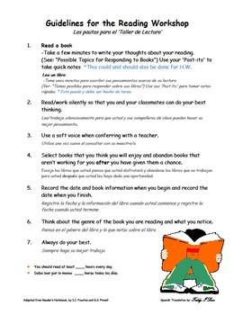 Guidelines for the Reader's Workshop
