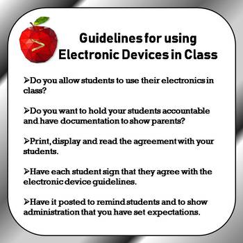 Guidelines for using Electronic Devices in Class