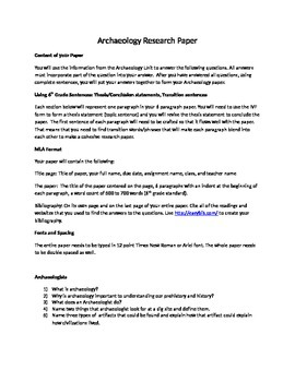 Guiding Questions for Archaeology Research Paper