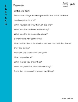 Guiding Questions for Retelling Summaries l Fountas and Pinnell