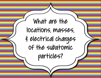 Guiding Questions for a Unit on Atomic Structure