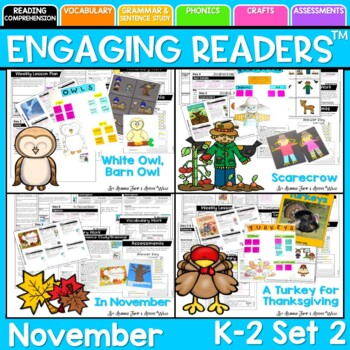 Guiding Readers: November SET TWO NO PREP ELA Unit for K-1