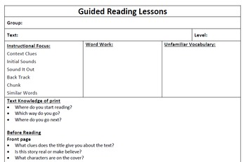 Guiding Reading Lesson Plan Template