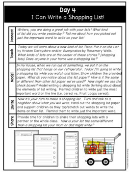 Guiding Writers: List Writing (A Kindergarten Writing Unit)