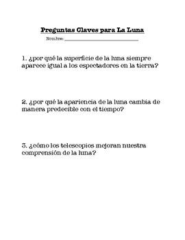 Guiding questions for the moon- Preguntas claves para la luna