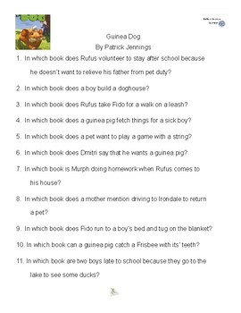 Guinea Dog by Patrick Jennings, Battle of the Books Questions