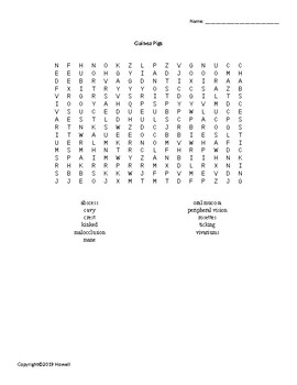 Guinea Pigs Vocabulary Word Search for Small Animal Science Students