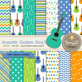 Guitar Boy digital paper and clipart
