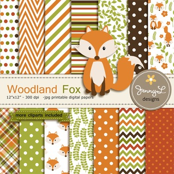 Fox digital paper and clipart