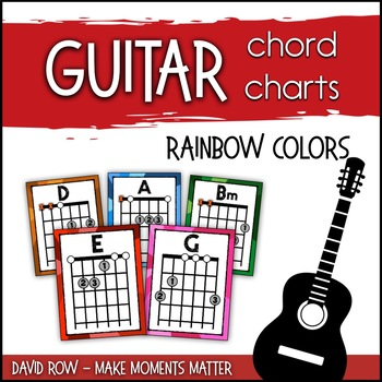 Guitar Chord Charts In A Rainbow Of Colors Guitar Posters Or