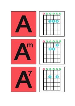 Guitar Chord Flash Cards in A