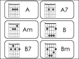 Guitar Chords Picture Word Flashcards. Music Appreciation.