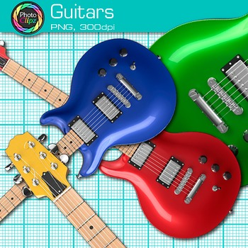 Rainbow Guitar Clip Art {Electric Base Instruments for Music Resources}