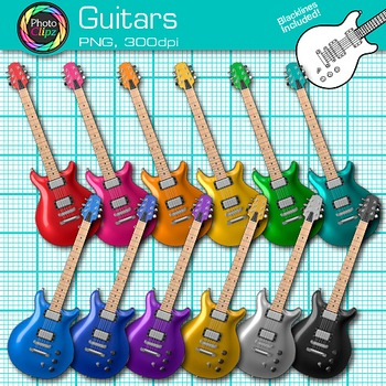 Rainbow Guitar Clip Art {Electric Base Instruments for Mus
