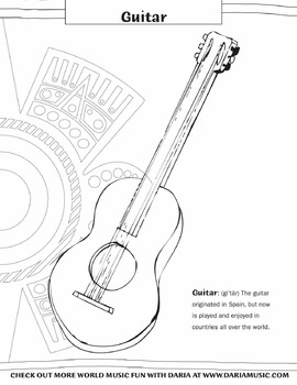 Guitar Coloring Page by World Music