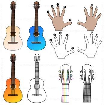 Guitar Chords: Clip Art Guitar Fingerings and Guitars by Dancing ...