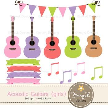 Guitar Girl digital paper and clipart