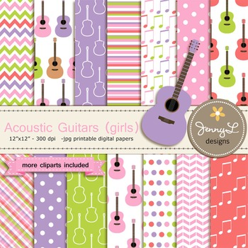 Guitar Girl digital paper and clipart
