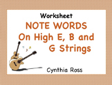 Guitar Note Words on high E, B, and G Strings