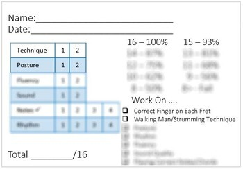Guitar Quick and Easy Playing Assessment Template