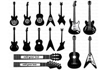 Guitar SVG, Guitar monogram svg files for Silhouette Cameo and Cricut. Clipart.