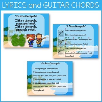 """Guitar Song """"I Like a Pineapple"""" Teaching Pages, Mp3 Vocal & Perf. Tracks"""